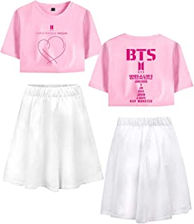 Landove BTS World Tour Tracksuit Two Piece Women Crop Top and Skirt Set A12678TXDQ