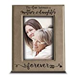 BELLA BUSTA- The Love Between a Mother and Daughter is Forever from Daughter- Mom Gifts Engraved Leather Picture Frame (4 x 6 Vertical)