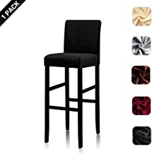 Lellen Counter Stool Pub Chair Covers Slipcover Velvet Stretch Removable Washable Dining Chair Covers (1 PCS, Black)