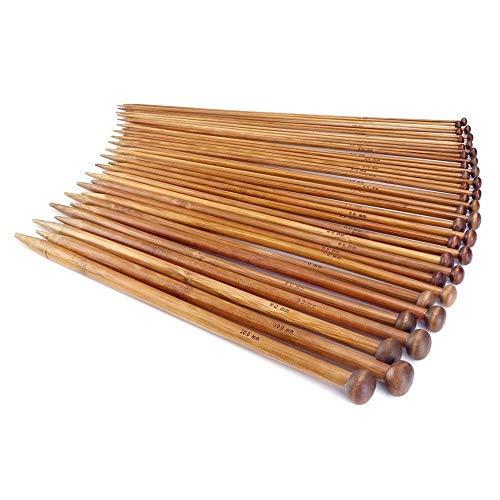 JZK® Kit de Tejer 18 Pares 36 Piezas Profesional bambú Agujas Madera Agujas para Tejer tejedores Principiantes y experimentados