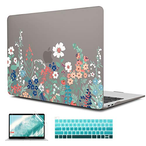CiSoo MacBook Pro 16 inch Case 2019 A2141 with Touch Bar & Touch ID, Floral Laptop Hard Shell Case Grey Protective Cover with Keyboard Cover for 2019 MacBook Pro 16 - Grass Flowers