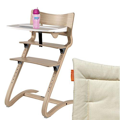 Leander Hochstuhl natur Komplettpaket mit Sicherheitsbügel, Tisch, BFree-Trinkbecher und Sitzkissen Cream
