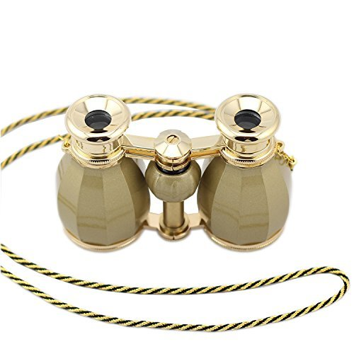 OPO Opera Glasses Theater Horse Racing Glasses Binocular Telescope Chain Necklace (Gold with Gold Trim) 4X30
