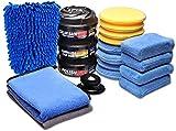 SPTA Pad di lucidatura con Microfibre applicatore Cera e Dressing Pads tamponi Spugna di Lucidatura Ceretta Pad Kit Pad di lucidatura Auto Abrasive lucidanti,per Auto lucidatura e Pulizia