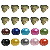 10PC Freshwater Twin Pearl Cultured Love Wish Pearl Oyster with Round Pearl Inside for Twin Pearl Gift Fun for Children Family Friends Party Oyster with Pearls Inside(7-8mm, 10PC Total 20 Pearls)