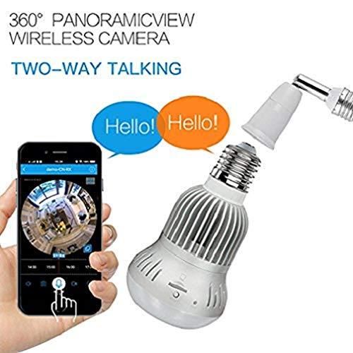 Hangang Fisheye 360 grados HD inalámbrico Wifi IP Cámara Panorámica oculta Cam 1536P HD lámpara bombilla Interior de seguridad doméstica de vigilancia para IOS Android