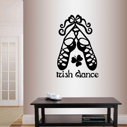 Wall Vinyl Decal Home Decor Art Sticker Irish Dance Words Sign Shoes Ireland Dublin Celtic Step Dance Bedroom Living Room Removable Stylish Mural Unique Design