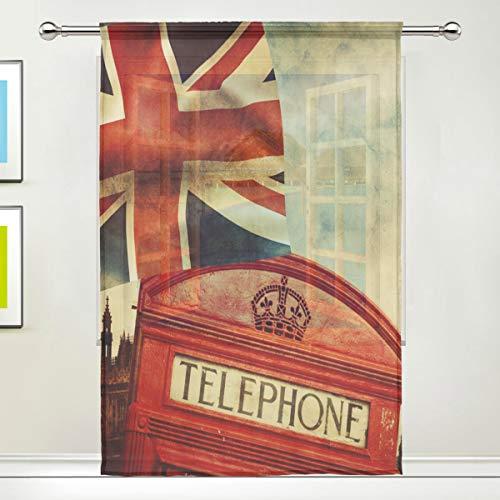 ALARGE Fenster-Vorhang mit London-Motiv Big Ben-Union Jack-Flagge, Voile-Vorhang für Küche, Wohnzimmer,...