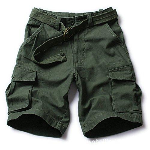 WDDGPZDK Strand Shorts/Mode Männer Cargo Shorts Farbe Militärischen Sackartige Latzhosen S-XXL 236, Grün, L