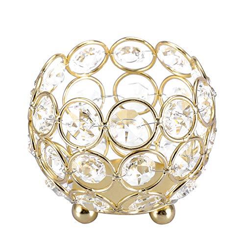 HERCHR Portavelas de 8 cm con Cuentas de Cristal votivas, candelabro votivo para Bodas, aromaterapia, favores de Fiesta, mesas, centros de Mesa(Oro)