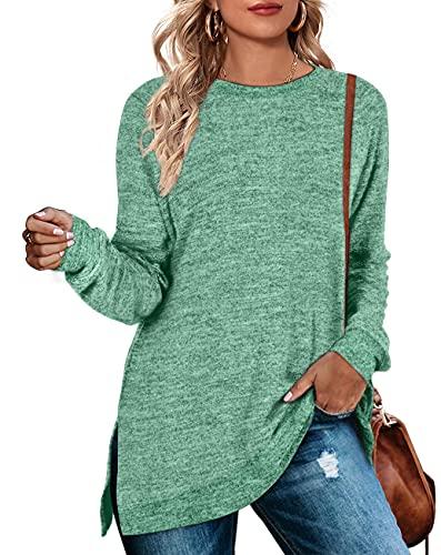 WEESO Christmas Sweatshirts for Women Green Crewneck Sweaters Medium