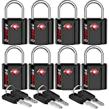 Black 8 Pack TSA Approved Luggage Locks Ultra-Secure Dimple Key Travel Locks with Zinc Alloy Body