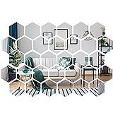 32 adesivi da parete in acrilico a specchio, rimovibili, in plastica, per casa, soggiorno, camera da letto, divano, TV sfondo (argento)