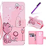 Nexus 5X Case, LEECOCO Fancy Paint Design Wallet Case with Card Slots Shockproof Colorful Floral PU Leather Flip Stand Magnetic Case Cover for LG Google Nexus 5X / 5 2nd Gen 2015,Pink Cat
