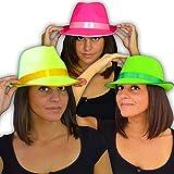 Eventlights NEON UV Party Hut - 3 Stück Set - Leuchten im Schwarzlicht - UV aktiv - 3 Farben Set: gelb, grün, pink