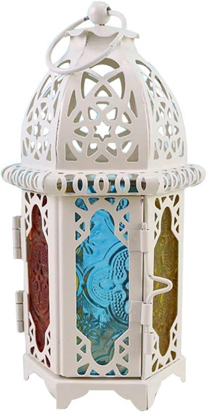 URNOFHW Classic Marruecos A Prueba de Viento Vela Votive Hierro Vidrio Colgante Candlestica Linterna Partido Inicio Boda Iglesia Decoración (Color : 02)