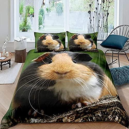 HSBZLH Lindo patrón de Cavy Funda nórdica de Dibujos Animados Adorable Mascota Conejillo de Indias 3 uds Juego de Cama 3D Estampado Animal Tema edredón Funda