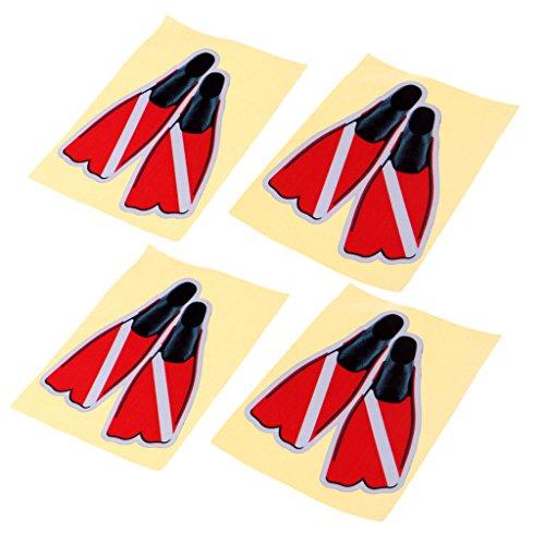 MagiDeal 4 Stücke Selbstklebende Reflektierende Tauchen Taucher Tauchflossen Aufkleber Flossen Aufkleber Für Schwimmen Auto LKW Stoßstange 14X11 cm / 5,5X4,3 Z