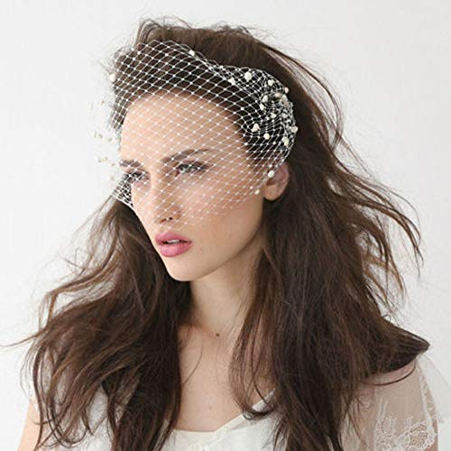 ISKYBOB White Pearl Birdcage Veil Wedding Bridal Blusher Veils with Hair Side Comb Hair Styling Accessories for Women and Girls