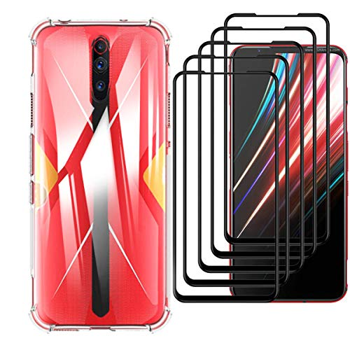 HYMY Hülle für Nubia Red Magic 5G+ 5 x Schutzfolie Panzerglas-Full Glue Full Cover -Transparent Schutzhülle TPU Handytasche Tasche Verstärkung an Vier Ecken Hülle für Nubia Red Magic 5G