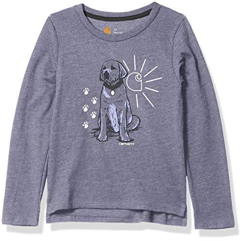 Carhartt Girls' Little Long Sleeve Graphic T-Shirt, Best Friend Purple Heather, 4