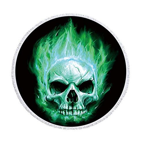 Sticker Superb Grand Crâne de Sucre Serviette de Plage Ronde avec Un Pompon 59 Pouces Cadre de Crâne Tapis de Yoga Couverture de Plage Femme Fille (Cyan, 150 cm)