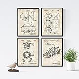Nacnic Vintage - Pack de 4 láminas con Patentes de Baloncesto. Set de Posters con inventos y Patentes Antiguas. Elije el Color Que más te guste