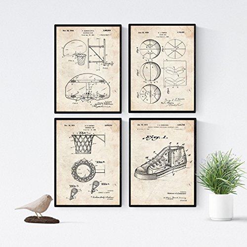 Nacnic Set di 4 Stampe artistiche vintage con brevetto sneaker, basket, canestro basket. Progetto scarpe da pallacanestro, cesto da pallacanestro. NBA. Vecchi brevetti. Vecchie invenzioni.