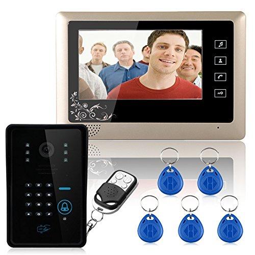 "Sistema de intercomunicación de videoportero con cable de 7""1 Teclado de timbre RFID con código de timbre de la cámara 1 Monitor 1000TVL Desbloqueo inalámbrico"
