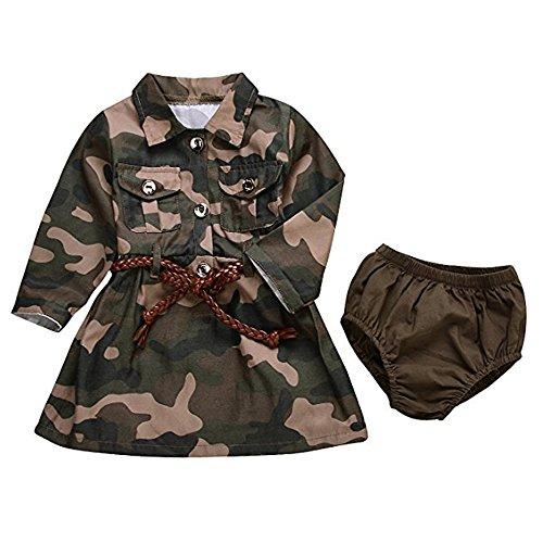 AILOM Baby Girls Camo-Camouflage Long Sleeve Belt Skirts+Armygreen Shorts Set (Camouflage, 12-18Months)