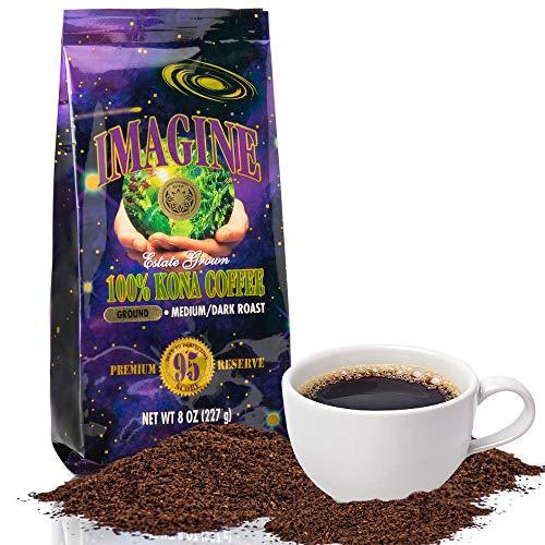 Imagine Kona Organic Coffee Beans   Arabica Kona Beans   Top Grade Air Roasted   Medium Dark Roast   Organic Whole Bean - 8oz
