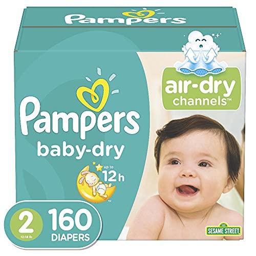 Pampers Baby Dry - Pañales Etapa 2, 160 Piezas. Para bebés de 5.5 a 8 Kg.