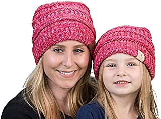 Mother/Daughter Winter Hat Bundle (4-Tone) - Red/Pink