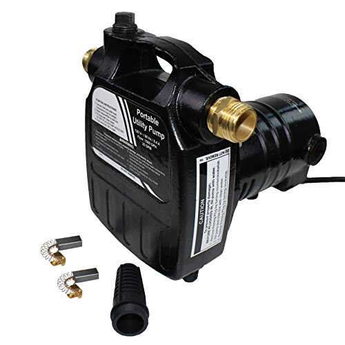 EXTRAUP 115Volt 1/2HP 1500 GPH Heavy Duty High Pressure Cast Iron Casing Water Transfer Utility Pump With Brass Connectors and Suction Strainer