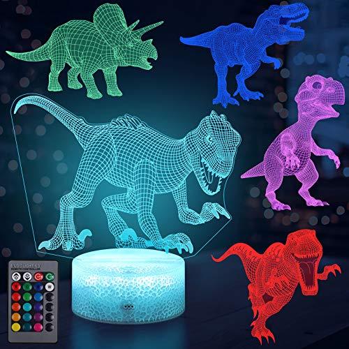 Hiveseen 3D Dinosaurier Nachtlicht, LED Optical Illusion Lampe mit 5 Dinosaurier Mustern, 16 Farbwechsel und Fernbedienung, USB Aufladbar, Dimmbare Touch Nachtlicht Geschenk für Kinder