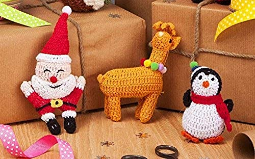 Gisela Graham Lot de 3 Père Noël, rennes et Crochet décorations à suspendre en forme de pingouin