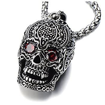 COOLSTEELANDBEYOND Stainless Steel Large Sugar Skull Pendant Necklace for Man with Red Cubic Zirconia with 30 in Wheat Chain