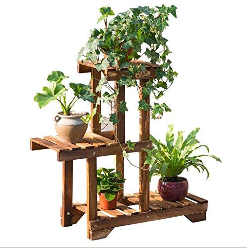 Présentoir de fleurs en bois en bois Plateau en bois étagère Rack de stockage en plein air Multi-étages Pots Holder 66 * 55cm
