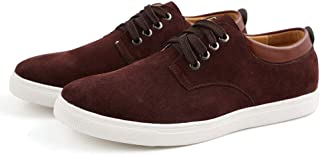 Asifn Men's Casual Suede Skate ShoesFront lace-up Shock bsorption Wear-Resistant Fashion Business Leather Flat Shoes