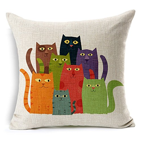 Poens Dream Cuscino, Seven Colors Cat Art Cotton Linen Decorative Throw Pillow Case Cushion Cover, 17.7 x 17.7inches