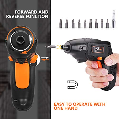 TACKLIFE Electric Screwdriver, 4V Max Cordless Screwdriver Rechargeable with Micro USB, Front LED Light, 10 pcs Screwdriver Bits, 3 Battery Indicator, Compact and Lightweight Design SDP60DC