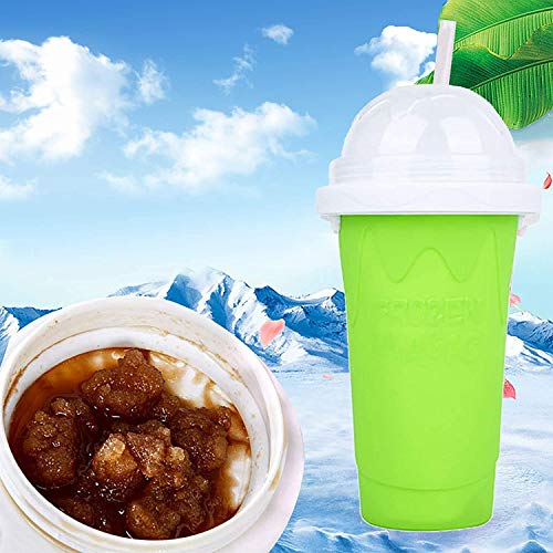 Slushie Maker Cup Squeeze, Slushie Maker for Kids Cup, Squeeze Cup Slushy Maker, TIK TOK Magic Quick Frozen Smoothies Cup Double Layer Cupfor Kids and Family-Green