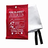 Fire Blanket, Fiberglass Fire Flame Retardent Emergency Surival Fire Shelter Safety Cover for Flame Retardance and Escape in the Event of a Fire in a Kitchen, Car or Camping. (M(47.2×47.2 inches))