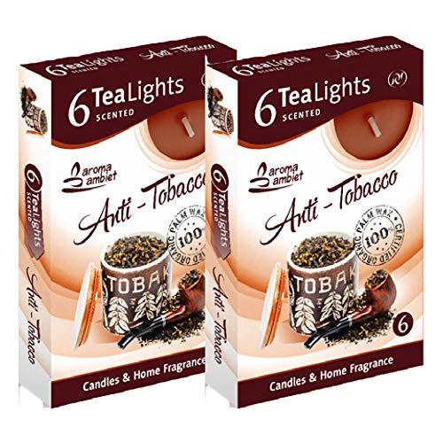 Velas Tealight Perfumate 12 unidades 3-4 h Fragancia Antitabaco