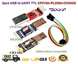 TECNOIOT 3pcs USB to TTL Module 1pc PL2303 + 1pc CP2102 + 1pc CH340G USB UART Module | Adaptador Serie USB a TTL módulo: 1pc con chipset CP2102 + 1pc con chipset PL2303 + 1pc con chipset CH340G
