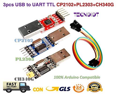 3pcs USB to TTL Module 1pc PL2303 + 1pc CP2102 + 1pc CH340G USB UART Module | USB zu TTL serial adapter modul: 1 stück mit PL2303 + 1 stück chipsatz mit CP2102 + 1 stück chipsatz mit CH340G chipset