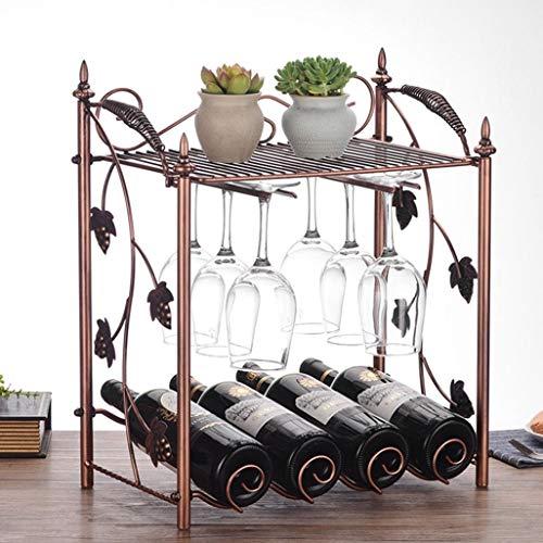 WZF Freistehende Weinregal Regal Weinflasche 4 Flaschen hängen 6 Weingläser Weinregal Vintage-Stil Eisen Metallschrank Flaschenhalter Speicherorganisator Arbeitsplatte für Home Bar 40x23x48cm