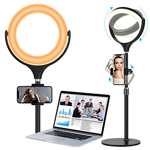 Computer Light for Video Conferencing,Desk Ring Light with Tripod Stand Phone Holder for Video Zoom Meeting Live Streaming Makeup Photography Shooting YouTube TikTok Laptop