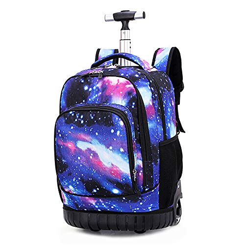 Cozyhoma Rolling Rucksack Multifunktions Rolling Schule Buch Pack Reise Trolley Gepäck Tasche für Schule Studenten Bücher und Erwachsene Reisen Sternenhimmel 19-inch