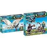 PLAYMOBIL DreamWorks Dragons Furia Diurna y Bebé Dragón con Niños, a Partir de 4 Años (70038) + HIPO y Astrid con Bebé Dragón